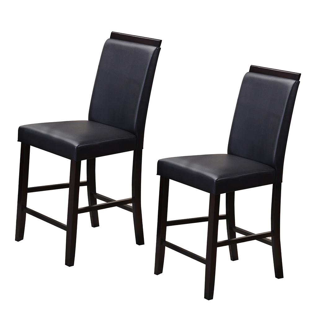 Faux Leather Upholstery Graces Both Seat And Back Of The Aracibo Counter  Height Parsons Chairs. The Sturdy Wood In A Rich Cappuccino Finish  Completes The ...
