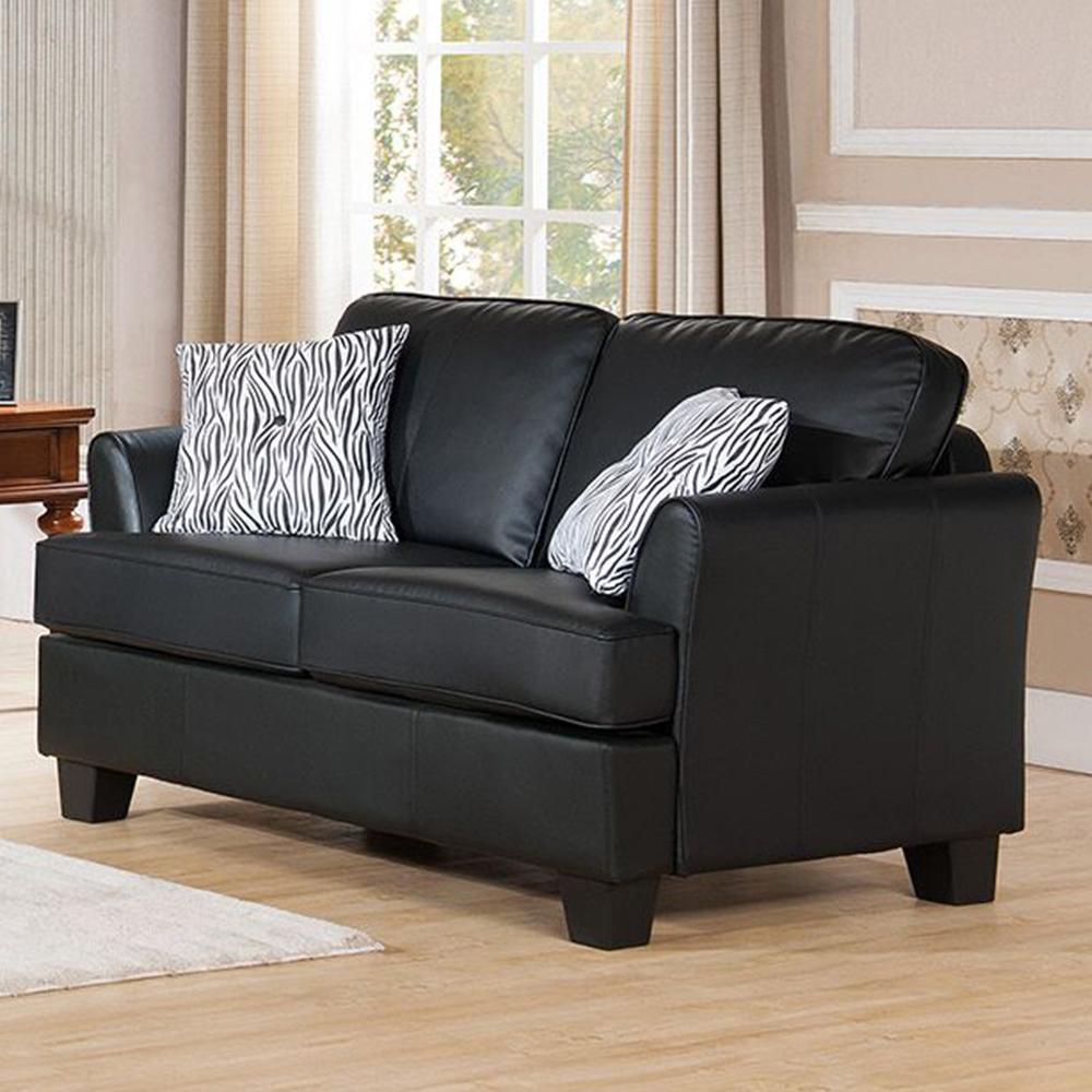 Alexandria Leather Loveseat (Black)