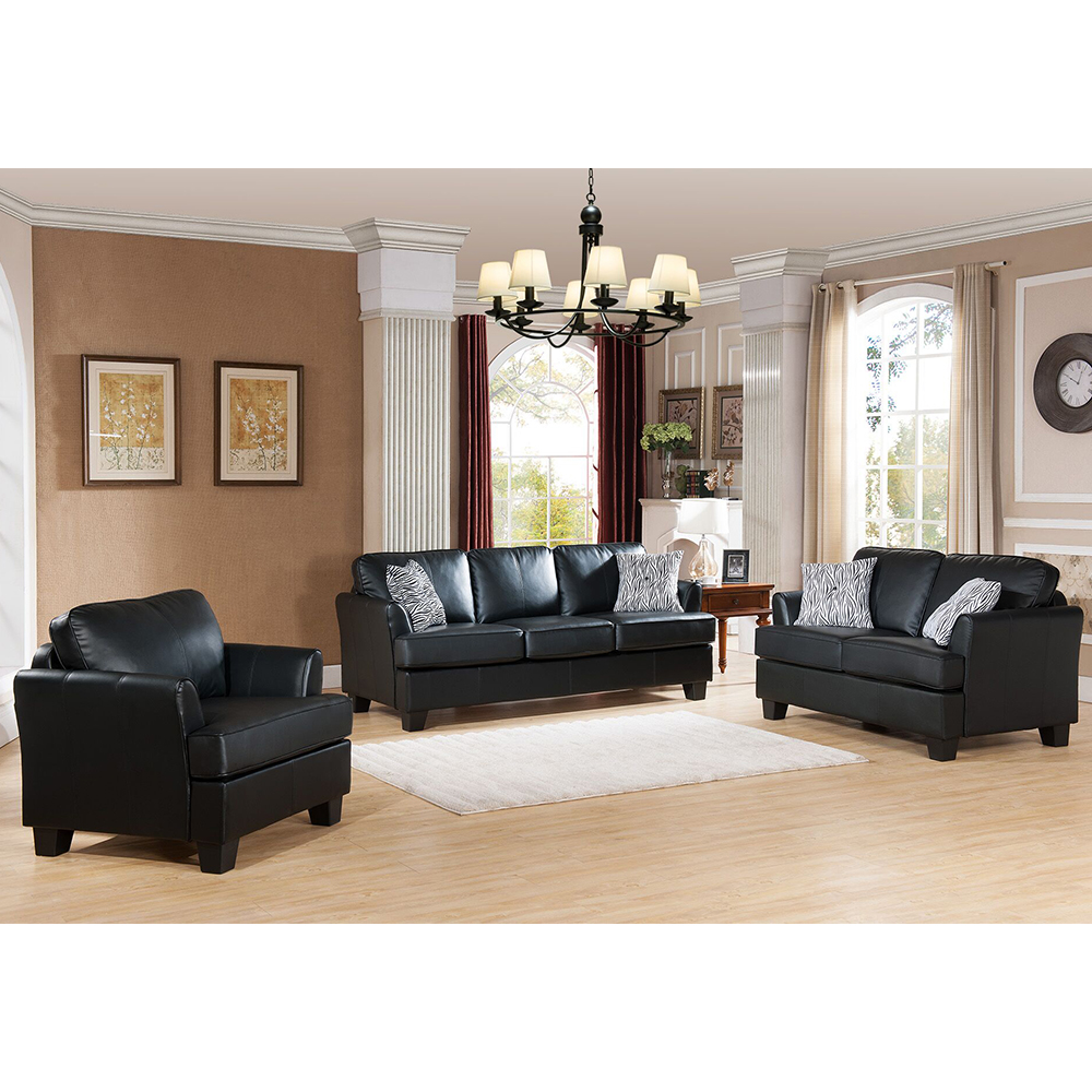 Alexandria Leather Living Set (Black)