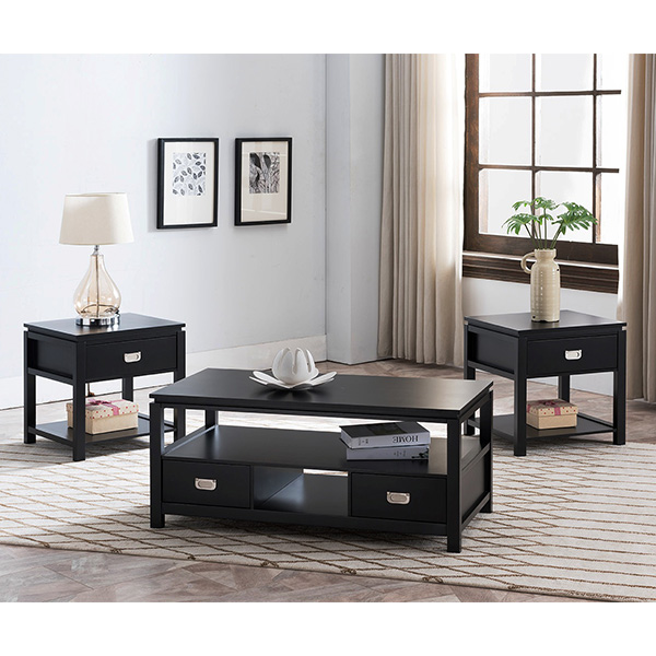 Balthus 3-Piece Occasional Table Set (Black)
