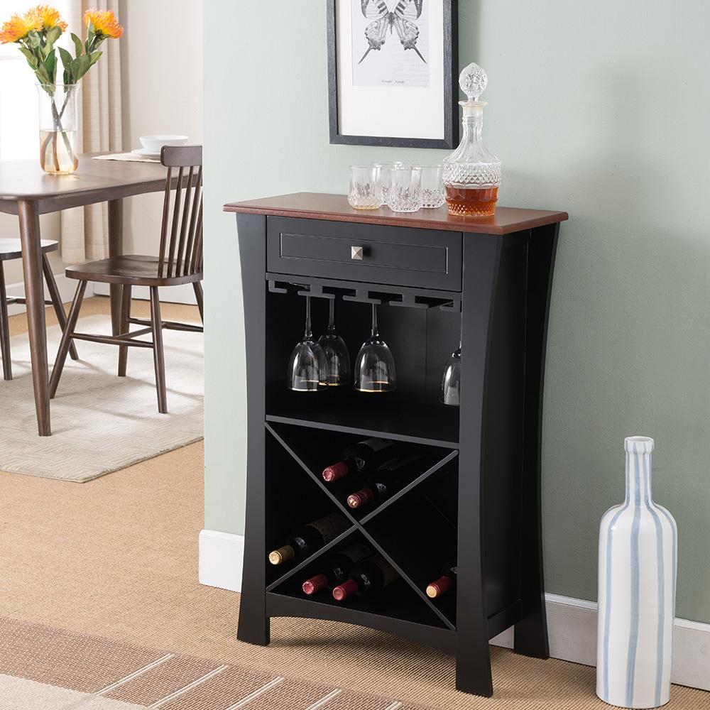 Barstow Wood Wine Rack (Black)