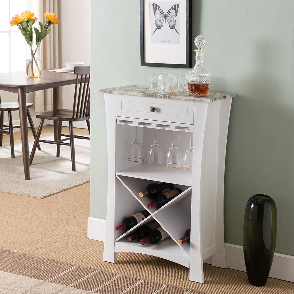 Barstow Wood Wine Rack (White)