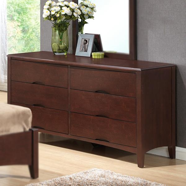 Wadsworth Wood 6-Drawer Dresser (Dark Bamboo)