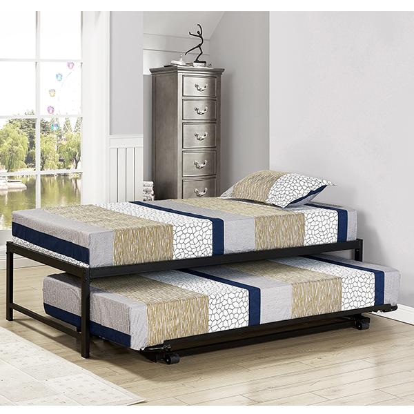Armada Metal Hi-Riser Bed (Black)