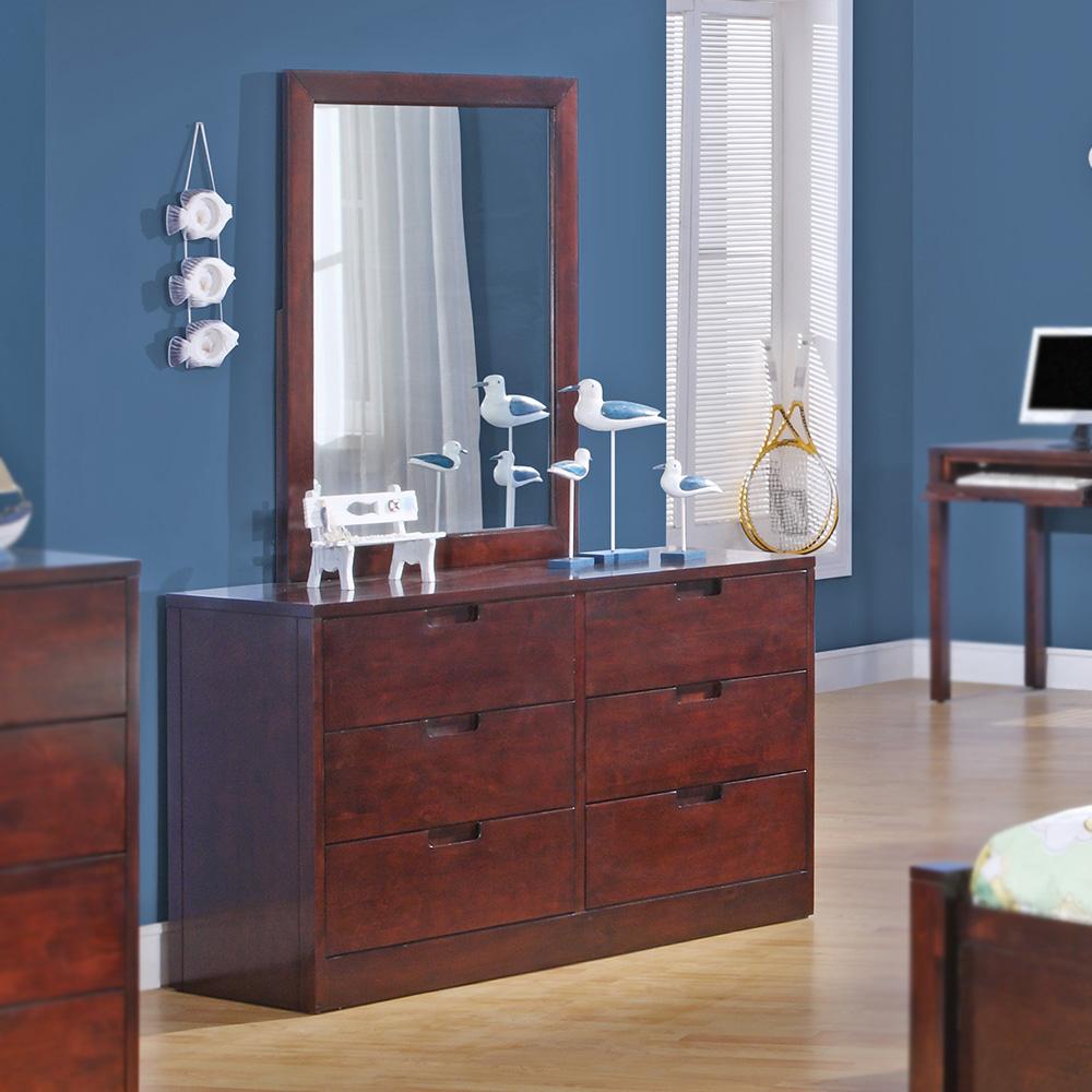 Walden Wood 6-Drawer Dresser / Optional Mirror (Dark Cherry)