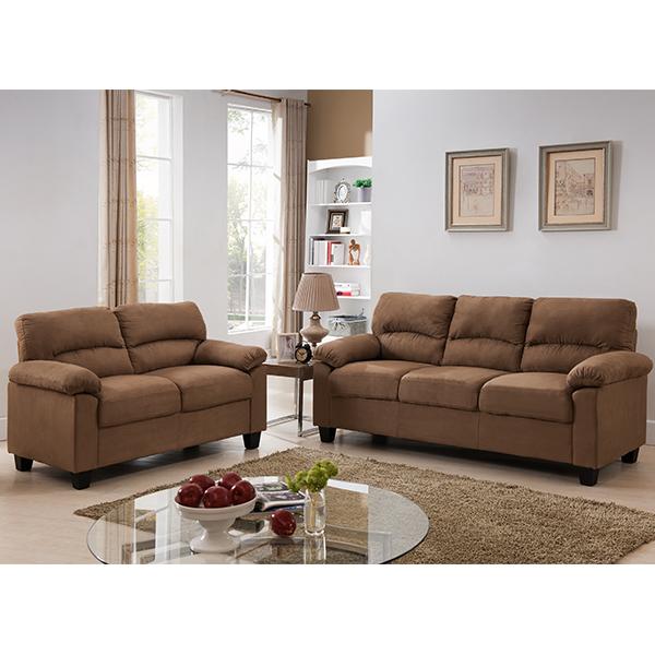 Ames Fabric Living Set (Brown)