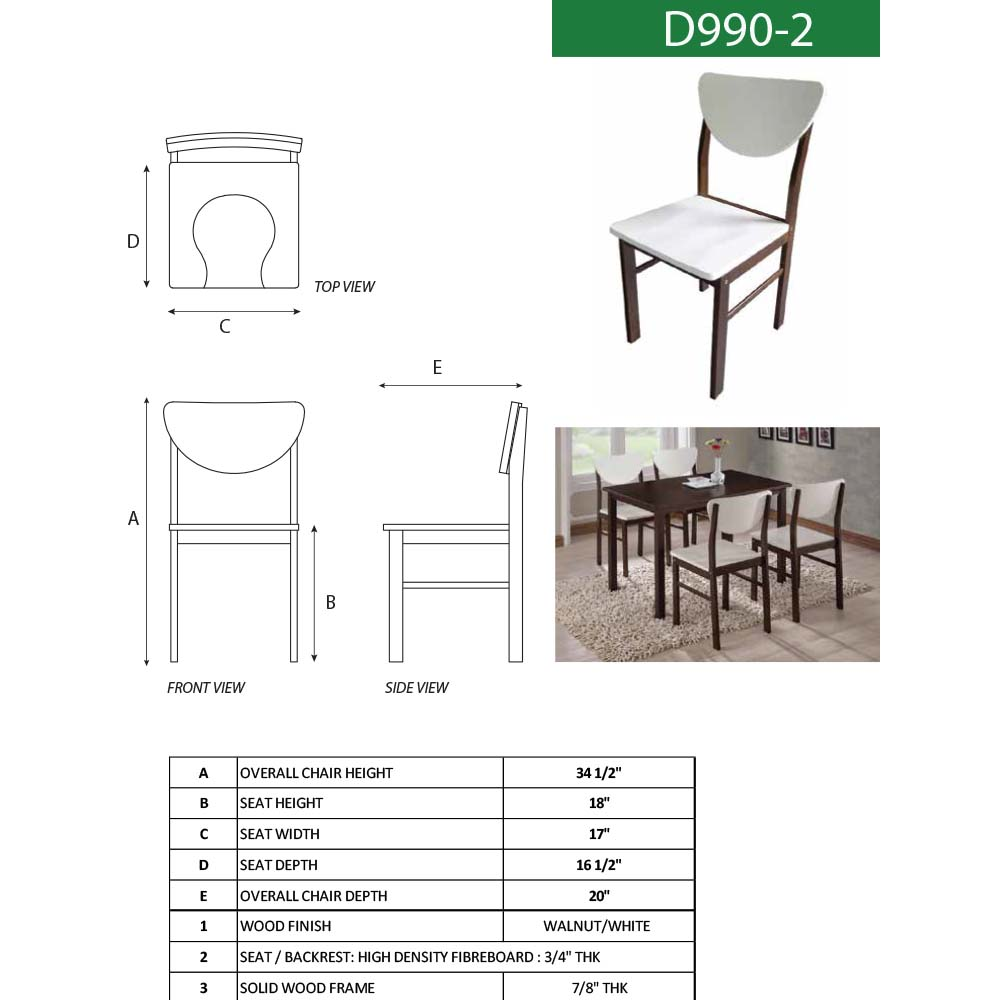 Big Walnut Apartments: Cimarron Side Chair (Vanilla White/Walnut)