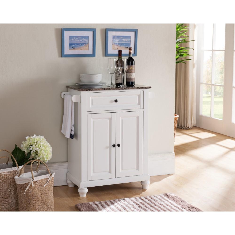 Herrin Kitchen Island/Serving Cart (White)