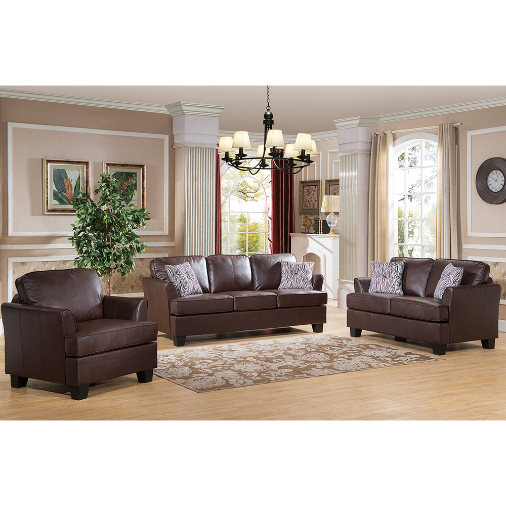 Alexandria Leather Living Room Set (Brown)
