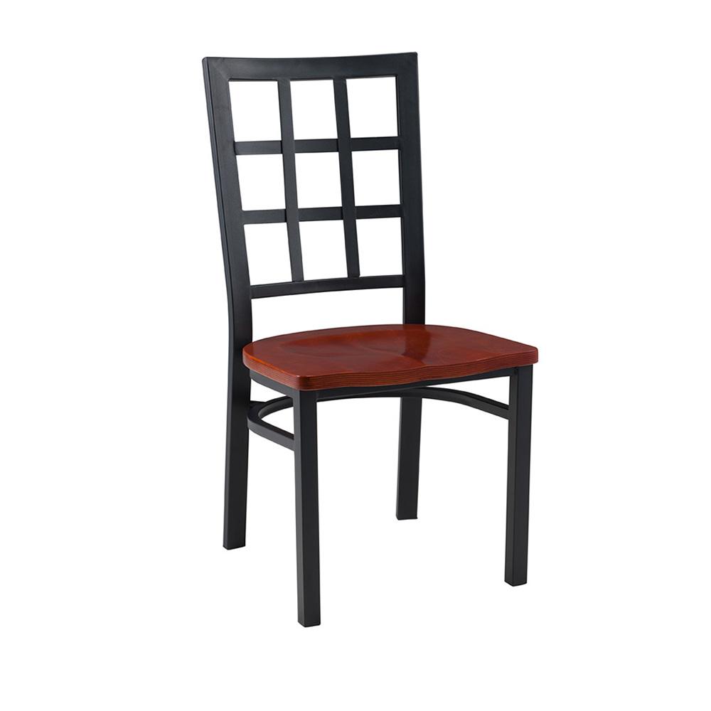 Baudelaire Metal Chair (Wood Seat)