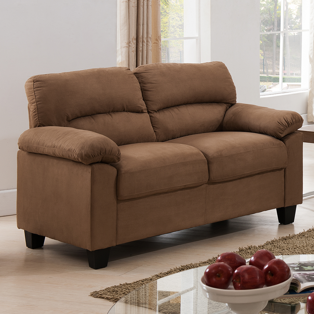 Ames Fabric Loveseat (Brown)