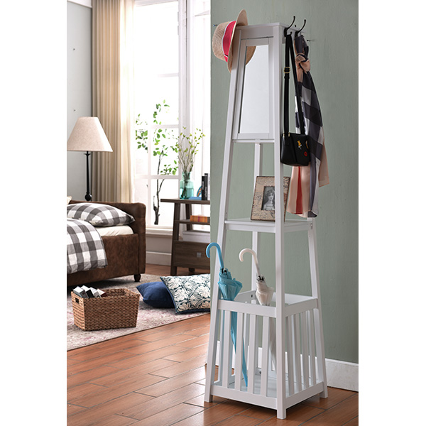 Bedford Coat Rack With Mirror (White)