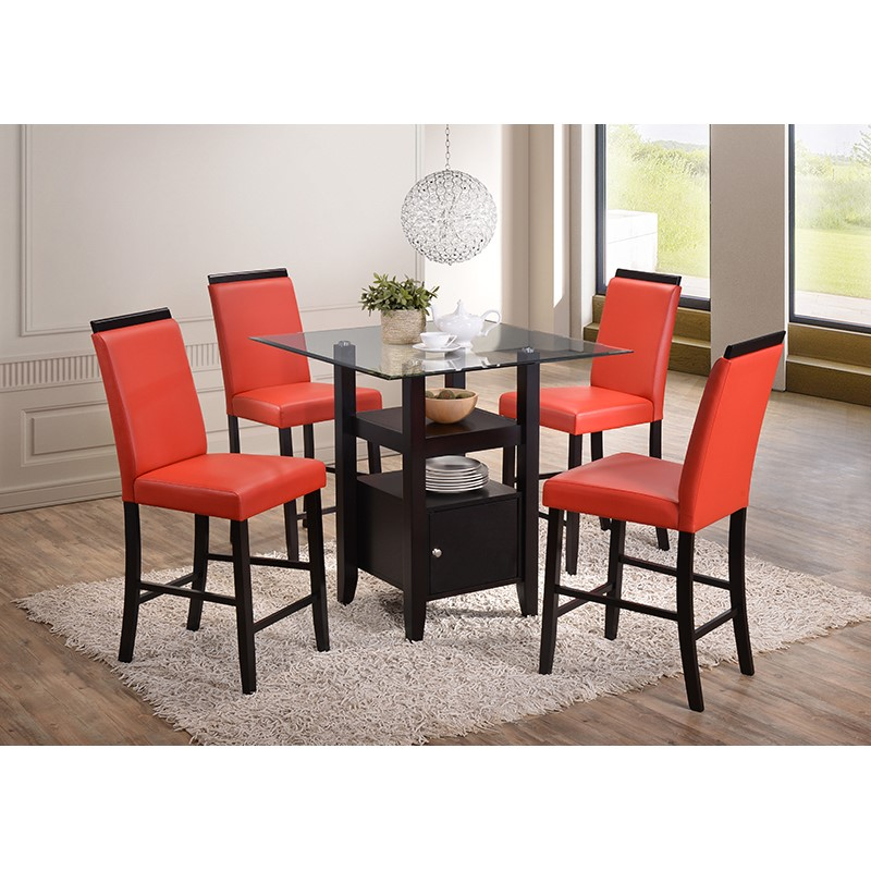 Arecibo Counter Height Dining Set (Red)