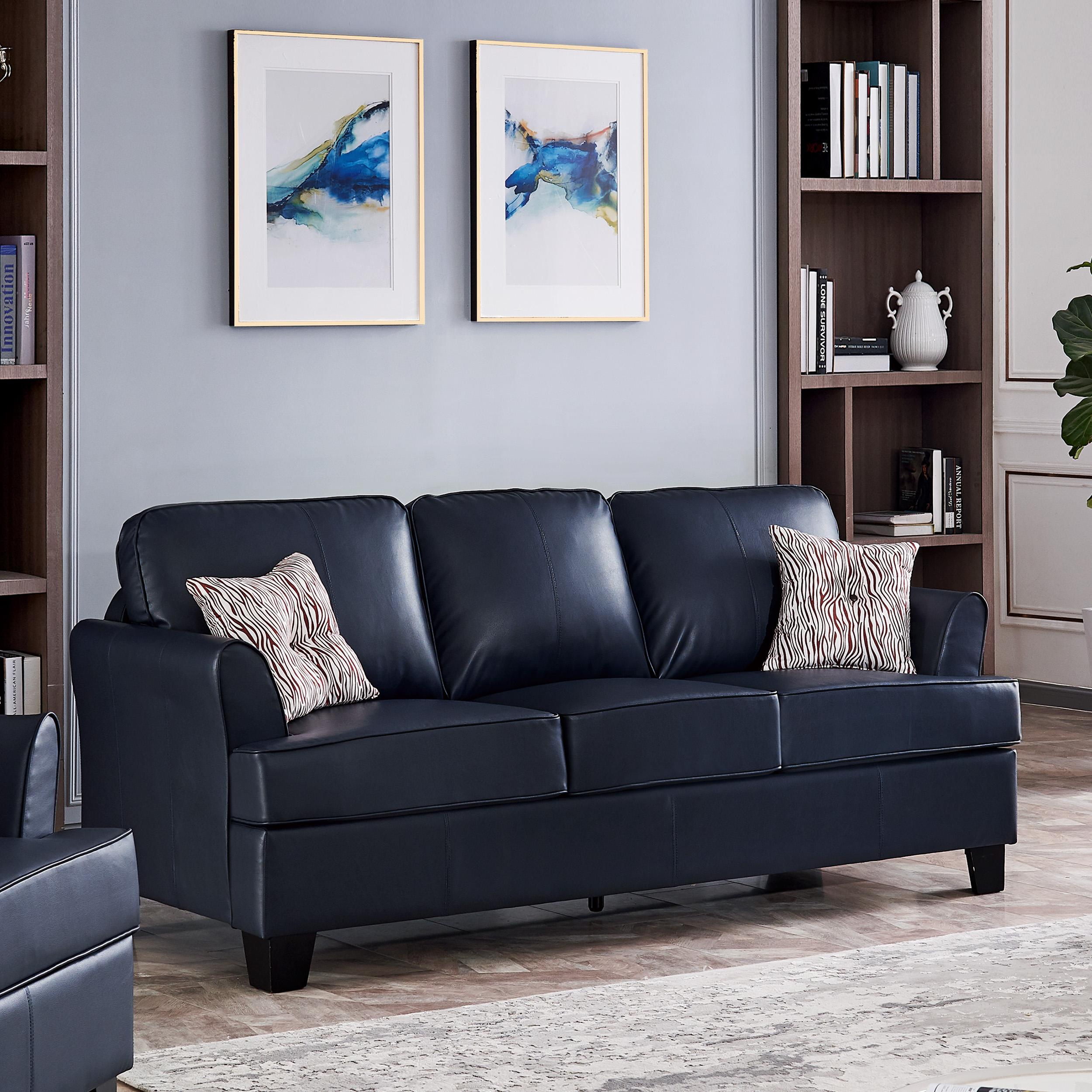 Alexandria Leather Sofa (Blue)